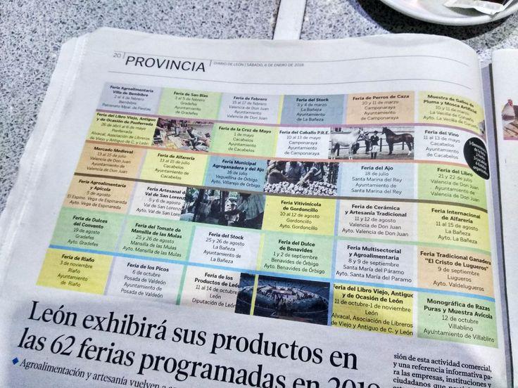 No os perdáis las 62 Ferias que se van a celebrar en 2018 en la provincia de León ✨⏬  En la edición de hoy de Diario de León  viene un estupendo calendario visual de todas ellas. ¡Bravo! 👏  #IFMarketing #LeonEsp