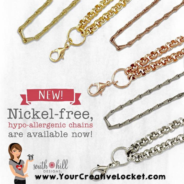 #YourCreativeLocket, #SouthHillDesigns,#nicketfree, #hypo-allergenic, #chains, #locket, #shd