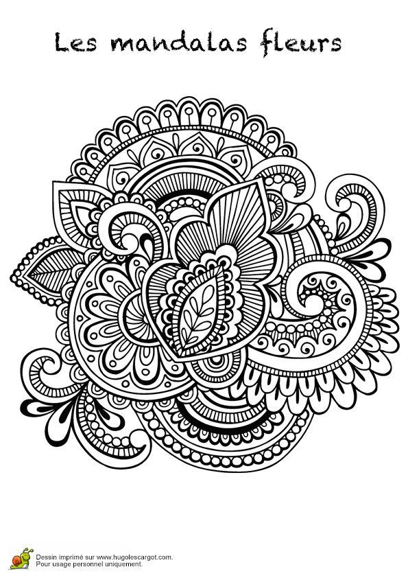 Coloriage les mandalas fleurs sur