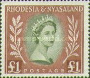 Rhodesia and Nyasaland, 1.7.1954, Queen Elizabeth II. No.16 1L brownish red/olive. Stamped 33,26 USD, Mint Condition 33,26 USD.