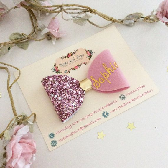 Personalised Name Bow - Persinalise Glitter Bow - Name Bow - Name Headband - Glitter Headband - Baby Headband - Girls Bow