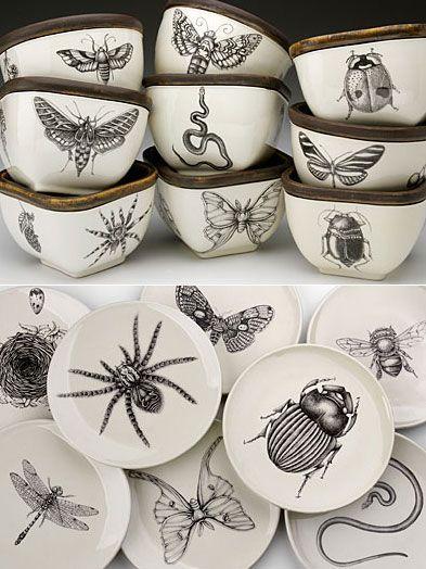 Hand-Bugs auf Keramik! Fantastisch! gepinnt von DesignSwan.com