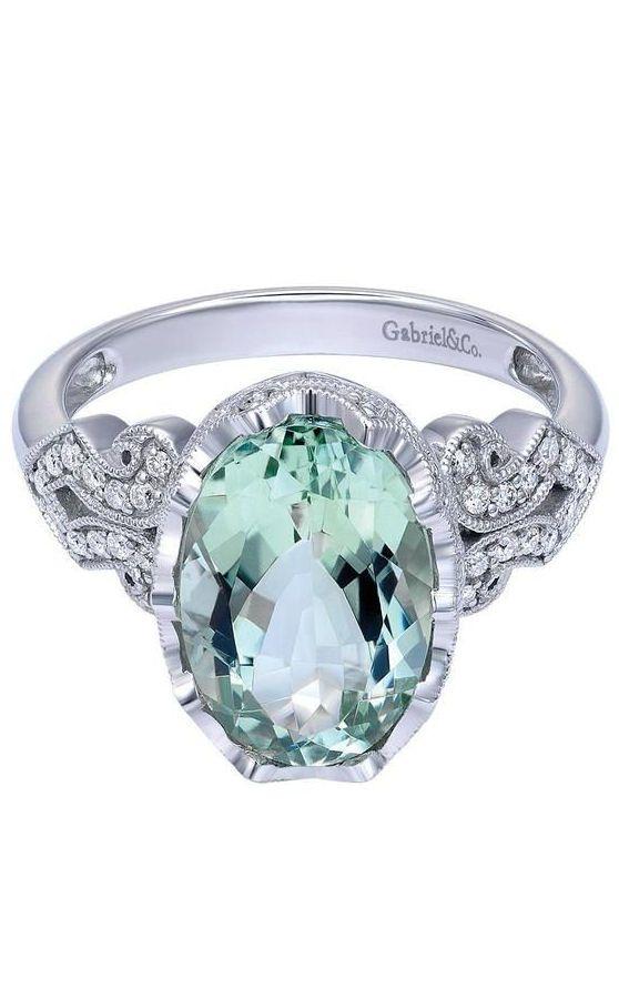 Prasiolite & Diamond Ring in 18K White Gold | Gabriel & Co.