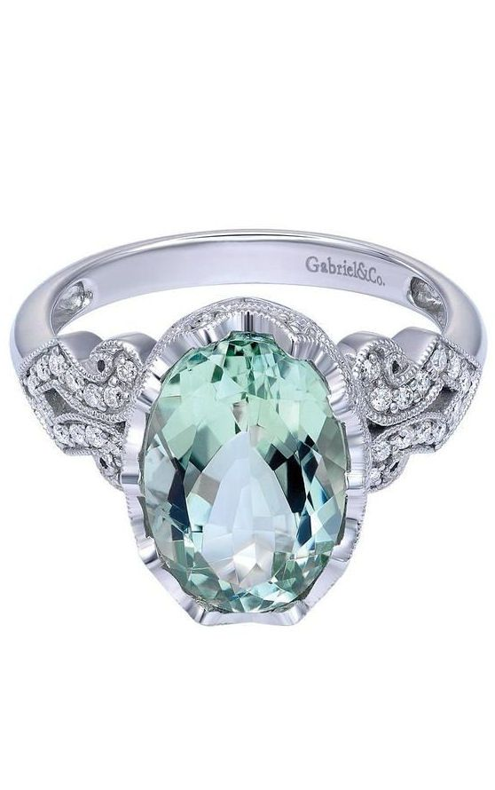 14k White Gold Victorian Green Amethyst Ring, 3.15 ct