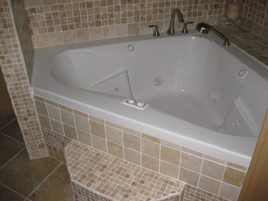 Corner Whirlpool Tub Shower Walk In Bathroom Remodel In