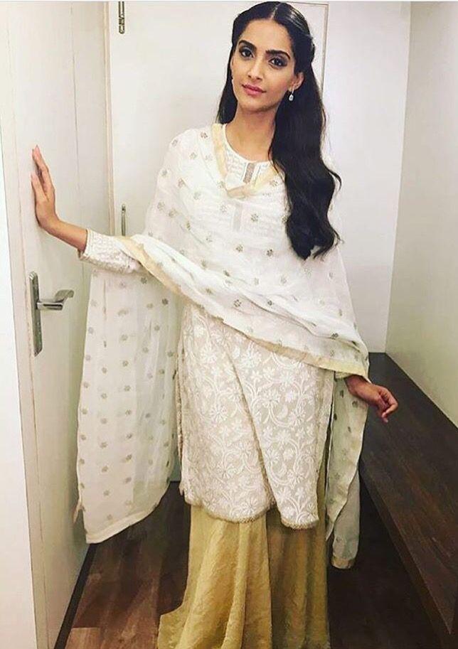 Sonam Kapoor # Pallazo love # chikenkari# white love #