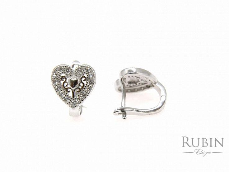 Szív motívumos cirkónia köves ezüst fülbevaló