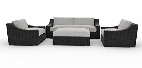 Tuscan Sofa Set 4pc Couch 2 Large Chairs Ottoman With Glass And Cushion Sunbrella Fabric Deep Seating Garden Patio Sofa Set Patio Sofa Backyard Furniture Decor