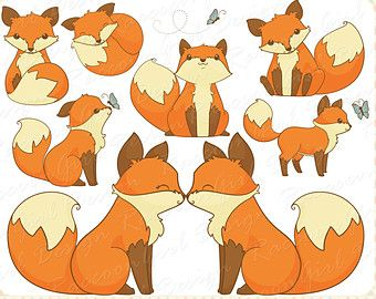 Fox Drawings Clip Art | Cute Little Fox Clip Art Set - Pers onal & Commercial Use ...