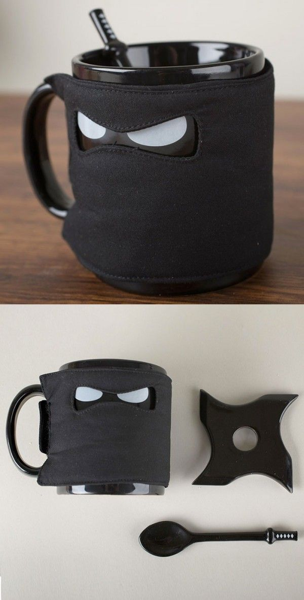 This ninja mug comes with all the requisite accessories: a throwing star coaster, and katana spoon along with the ninja mask coffee coozie. Cute AND deadly.