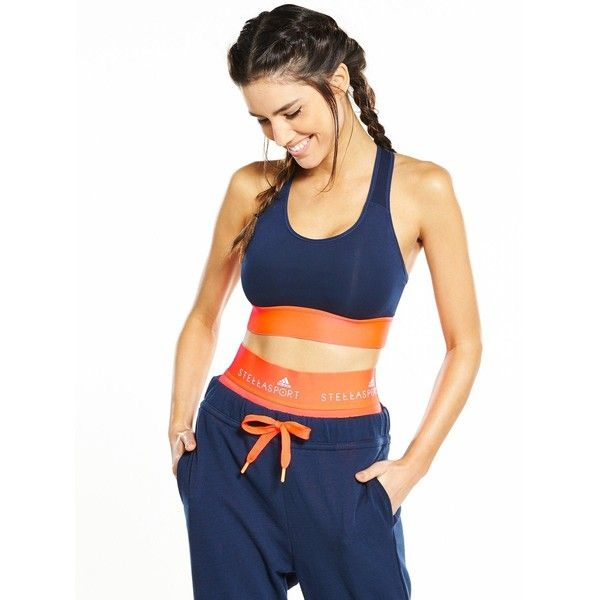 Adidas Stellasport Colourblock Bra ($55) ❤ liked on Polyvore featuring activewear, sports bras, racer back sports bra, orange sports bra, racerback sports bra, navy blue sports bra and navy sports bra
