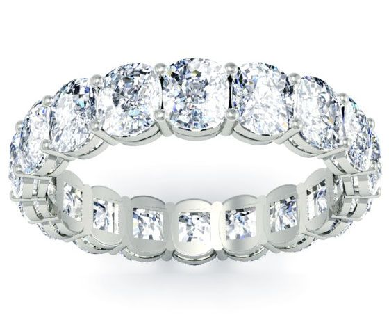 Vintage Eternity Ring with Cushion Cut Diamonds