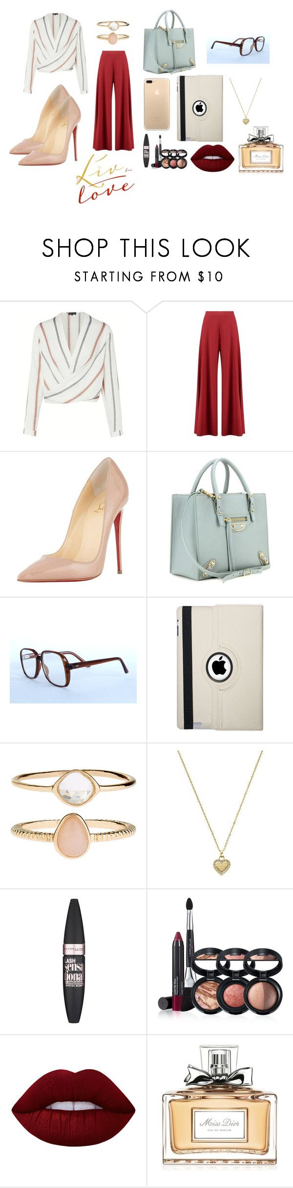 """""""#love #fashion"""" by elifaydogan0 ❤ liked on Polyvore featuring Boohoo, Christian Louboutin, Balenciaga, Vintage Eyewear, Natico, Accessorize, Michael Kors, Maybelline, Laura Geller and Lime Crime"""