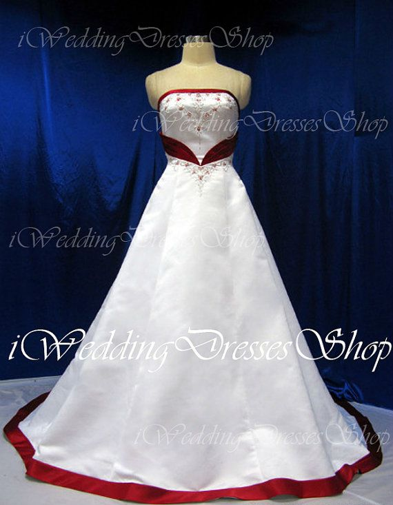 A Line Strapless Sweetheart Court Train Satin White and Red Wedding Dresses Vintage Bridal Gown, Wedding Gown on Etsy, $299.00