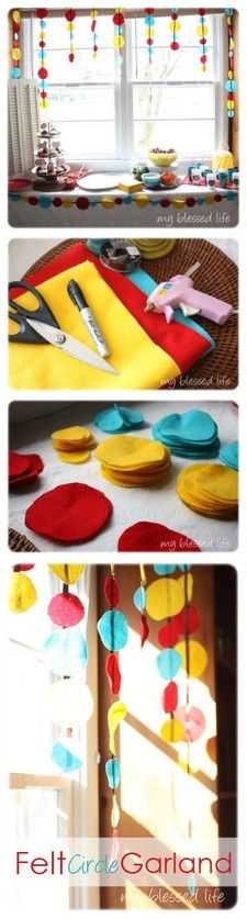 Felt Garland - perfect colors for a Curious George Birthday Party