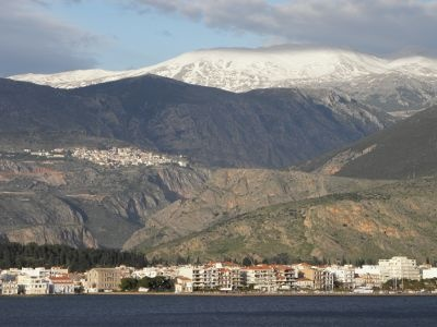 The Gulf of Corinth, Itea, Delphi and Mount Parnassus