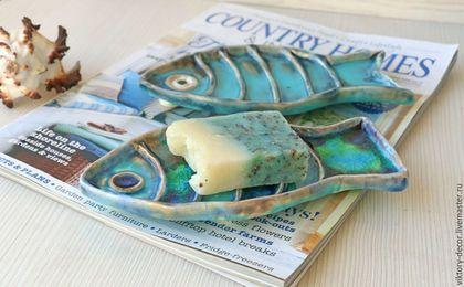 Ванная комната ручной работы. Тарелка керамическая Рыбка. Viktory-decor (ceramics). Ярмарка Мастеров. Бирюзово-зеленый, декоративная тарелка