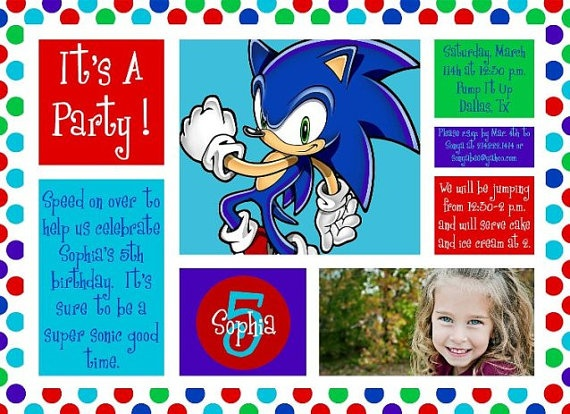 Sonic The Hedgehog Personalized Photo Birthday by rjs121776, $12.99