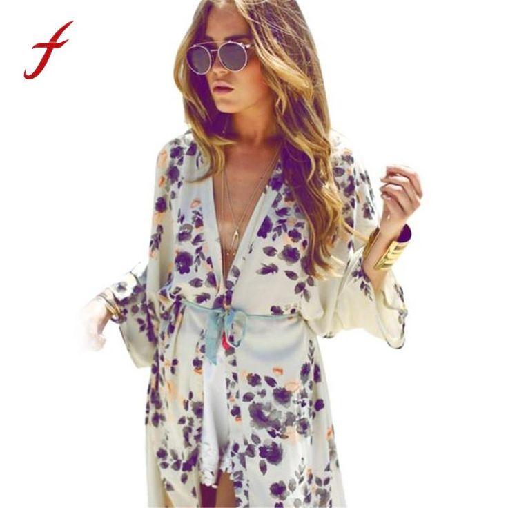 Women Summer Blouse Bohemian Fashion Floral Printed Half Sleeve Casual Beach Boho Kimono Cardigan Long Blusas Chiffon Tops Cover Up - IntuitiveDesign