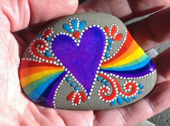 What love feels like. You put a rainbow in my heart. Painted rock (sea stone) from Cape Cod A beautiful stone, worn smooth over time being - Crafting For Holidays