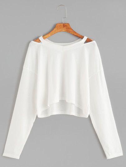 Camiseta corta cuello con abertura - blanco