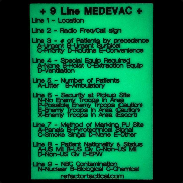 Glow in the dark 9 line medevac re factor tactical