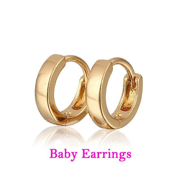 Baby Earring Gold Hoop Earrings Kids Infant Bijoux Aretes Bebe Brinco Orecchini Bambino Oorbellen Plated Girl Jewelry E18-82