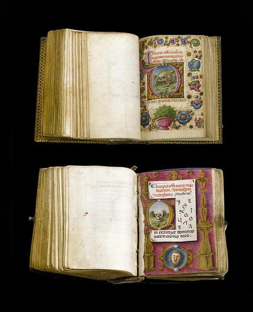 "Miniature books - Book of Hours. Venice: c. 1480. 3 x 2"". ...show different treatments with skulls, introducing the Office of the Dead."