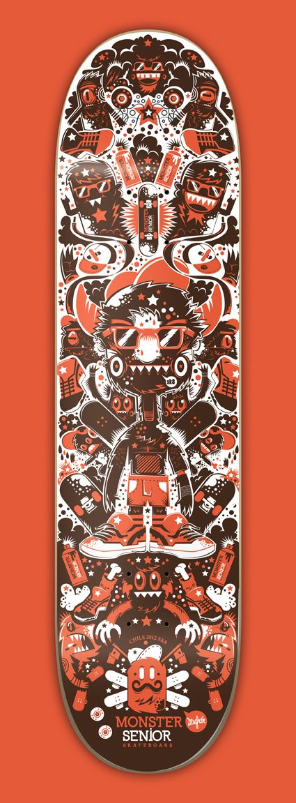 Monster Senior Skateboards company | illustration by New Fren, via Behance