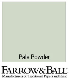 Farrow and Ball Pale Powder. Best paint ever. The way to describe this color is, green, gray, blue, white. It changes with the light. I never tire of it