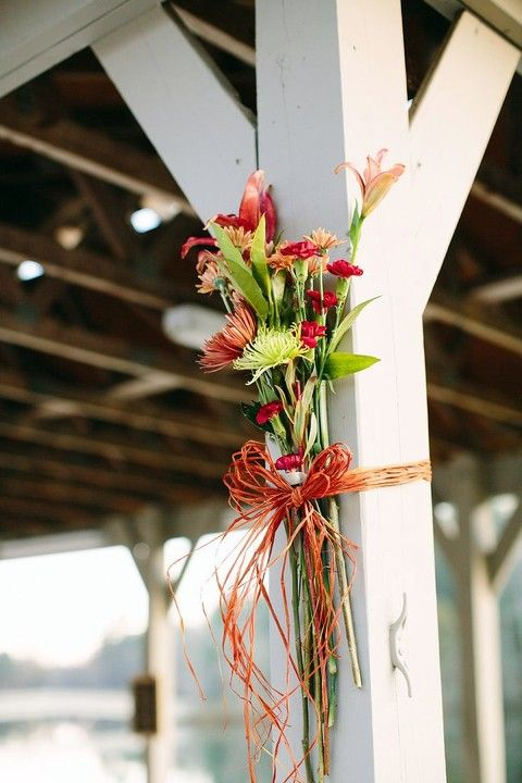 42 Cool Fall Beach Wedding Ideas | HappyWedd.com ~~ I like this but it needs to be made with sunflowers