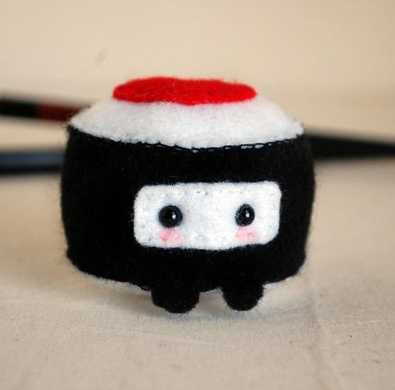 Ninja Sushi  Kawaii Felt Plush by twistyfishies on Etsy