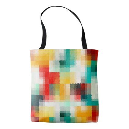Red Blue Green Yellow White Abstract Pattern Tote Bag - pattern sample design template diy cyo customize