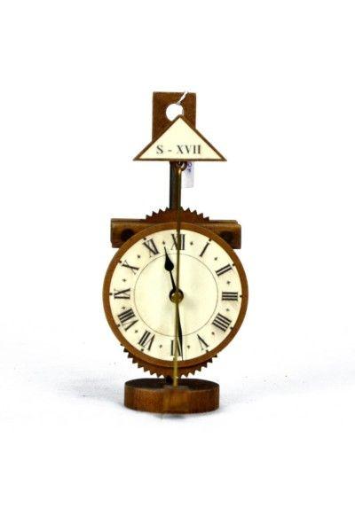 Reloj de sobremesa de cuarzo con péndulo (pila incluida 1.5 V). Fabricado en madera hecho artesano.  Reloj para la decoración del hogar. estilo rústico. Envío en 24h, muchos más en nuestra pág web.