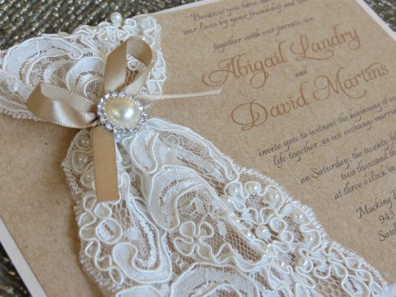 Burlap Wedding Invitations Diy: ABIGAIL: Burlap Lace Wedding Invitation, Vintage Rustic