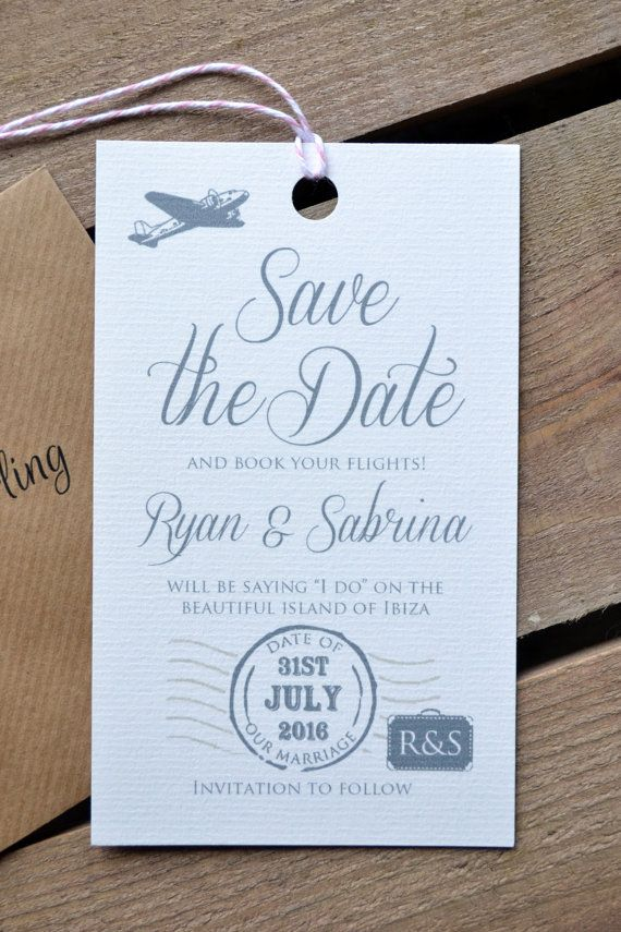 destination wedding save the dates and invitations%0A Save the Date  Personalised Destination Wedding Luggage Tag Save the Date  including Kraft Envelope