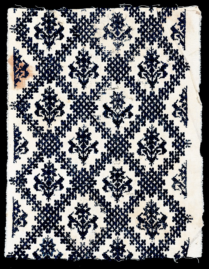 Africa | Fragment from a Mattress Cover from Morocco | ca. late 1700s | cotton, silk; embroidered