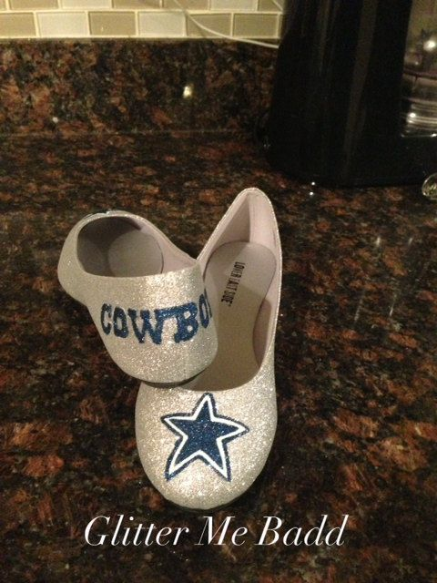 Dallas Cowboys Glitter flats with Navy Blue Star design and Cowboys name on back by Glitter Me Badd #dallascowboys