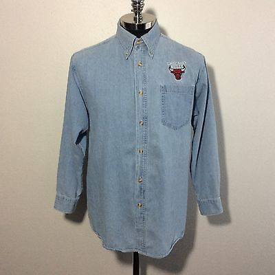 Chicago Bulls Basketball Button Down Denim Shirt Size small    eBay