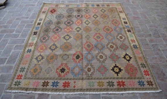 Size: 209 x 173 cm, Beautiful Handmade Vintage Afghan Best Quality Soumak Area Kilim, Decorative Handmade Floral Area Rug WHOLESALE PRICE