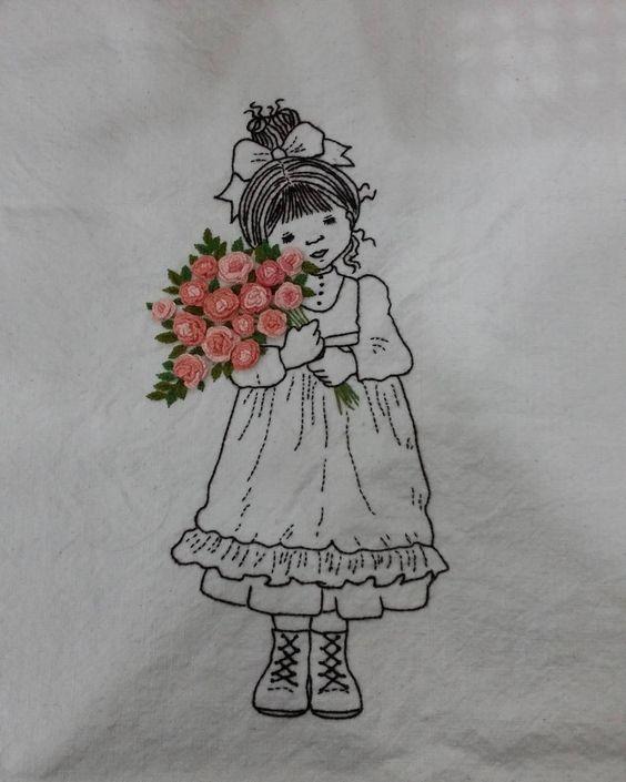 꽃을 안고 있는 소녀~~ 요즘 일러스트자수 홀릭중! 자꾸 빠져든다... #cute girl with illustration embroidery #flower embroidery #일러스트자수 #꽃자수