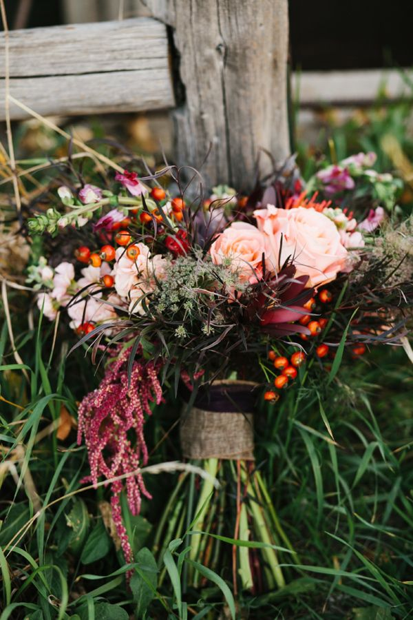 bouquet with rich deep tones // photo by Alyssia B Photography // http://ruffledblog.com/bohemian-fall-bridal-session