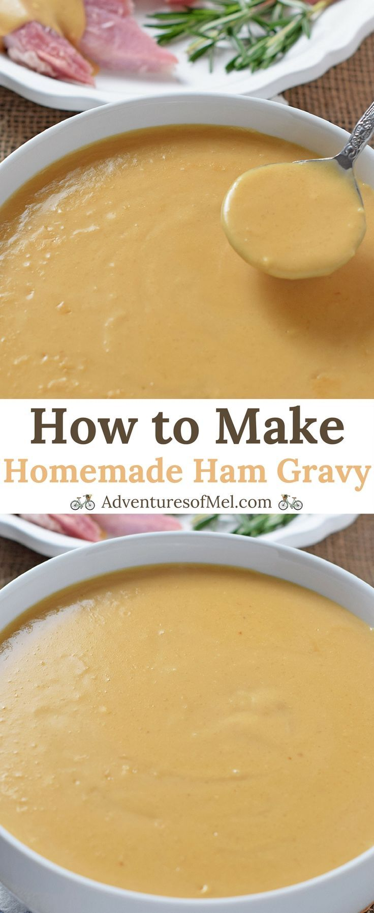 Homemade Ham Gravy, made with leftover ham drippings. Delicious side dish with ham, mashed potatoes, and all the fixings! #howtomakegravy