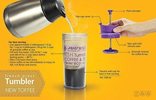 Kostengünstig Hohe Qualität Cafetière Reise-Becher 500ml  One Cup Französisch Press Kaffeebereiter Kaffeemaschine  Doppelschalig (blau) Online