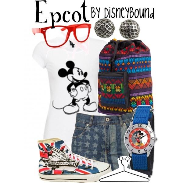 Disney clothing. Epcot. DisneyBound. Mickey shirt. Red glasses. Printed denim shorts. Union Jack high top converse. Mickey watch.