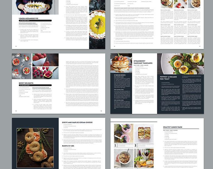 Cookbook And Recipe Template For Adobe Indesign Instant Etsy Cookbook Template Recipe Template Food Printables