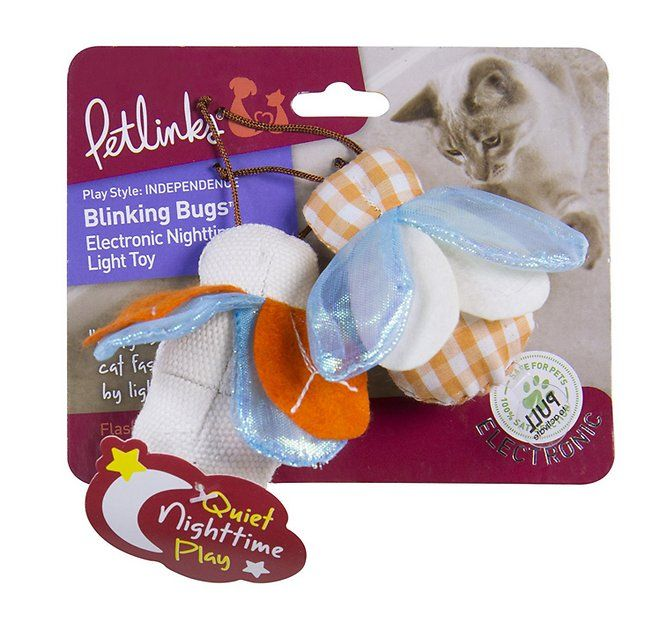 Light up playtime with your kitty with the Petlinks Blinking Bugs Electronic Nighttime Light Cat Toy. This buggy duo bring on double the fun with wings that light up unpredictably, stimulating your cat's natural hunting instincts. Your pal will love chasing, stalking, and pouncing on this engaging toy, and it's purrfect for playing solo, with you, or with other furry buddies. It provides much-needed exercise for indoor or outdoor kitties, and is ultra-quiet so it's great for nightime play…
