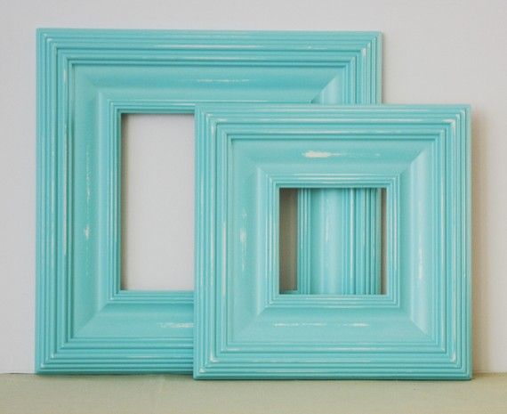 8x8 aqua distressed wood picture frame whistler style in stock ready to ship
