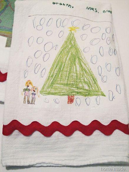135 best aprons tea dish towel diy ideas images on pinterest kids artwork printed on tea towels diy solutioingenieria Image collections