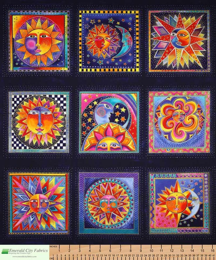 Laurel burch celestial dreams blue quilt fabric panel for Celestial pattern fabric